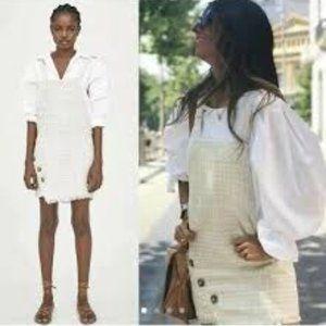 Zara Tweed Overall Mini Skirt w/ Raw Hem NWT